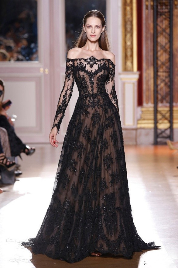 Fast Delivery A Line Black Lace Zuhair Murad Evening Dresses For Sale Long Sleeved Evening Party Gowns Vestido De Festa Longo(China (Mainland))