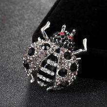 2018 Baru Kedatangan Warna Merah Berlian Imitasi Serangga Bros Untuk pria Perhiasan Merek Enamel Pin Syal Wanita Vintage Tas Bros Bijoux(China)
