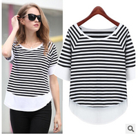 Summer style round collar black and white stripe  women  t shirt 5 minutes of sleeve loose  tops fashion  2015 chiffon t shirt