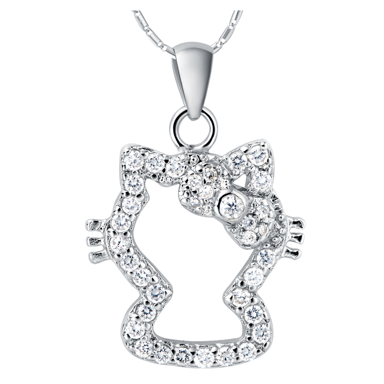 2015 Cute Fashion Women Jewelry White Gold Plated Chains Necklace Hello Kitty Pendant N777 Free Shipping(China (Mainland))