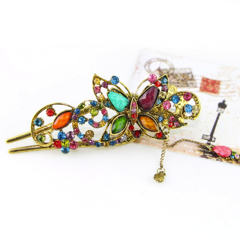 Free Shipping Amazing palace luxury Rainbow Butterfly Hair pins Barrettes Vintage Crystal jewelries accessories gifts(China (Mainland))