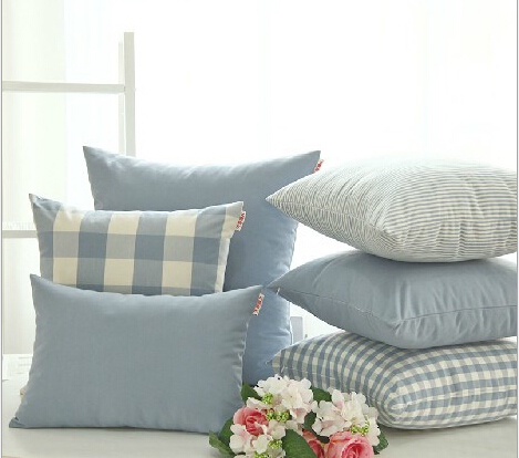 ikea decorative pillow cushion cover throw pillow cover british style plaid and solid blue in. Black Bedroom Furniture Sets. Home Design Ideas