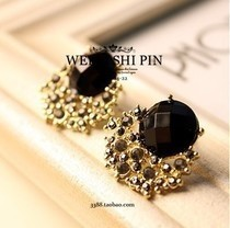 Free Shipping $10 (mix order) New Fashion Vintage Luxury Black Stone Gem Crystal Stud Women Earring E72 Jewelry(China (Mainland))