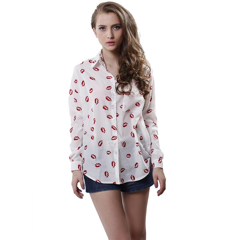 Women Button Red lip Print Blouse lady Stand Collar chiffon t Long Sleeve Shirt white Top blouse - emilia's beauty store