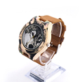 New Fashion BOBO BIRD printing Wolf Dial Bamboo Wooden Watches Genuine Brown Cow Leather Strap Analog