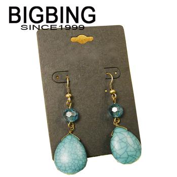 Bigbing ювелирные изделия мода зеленый природный камень кристалл мотаться серьги высокое качество никель бесплатная доставка BE257