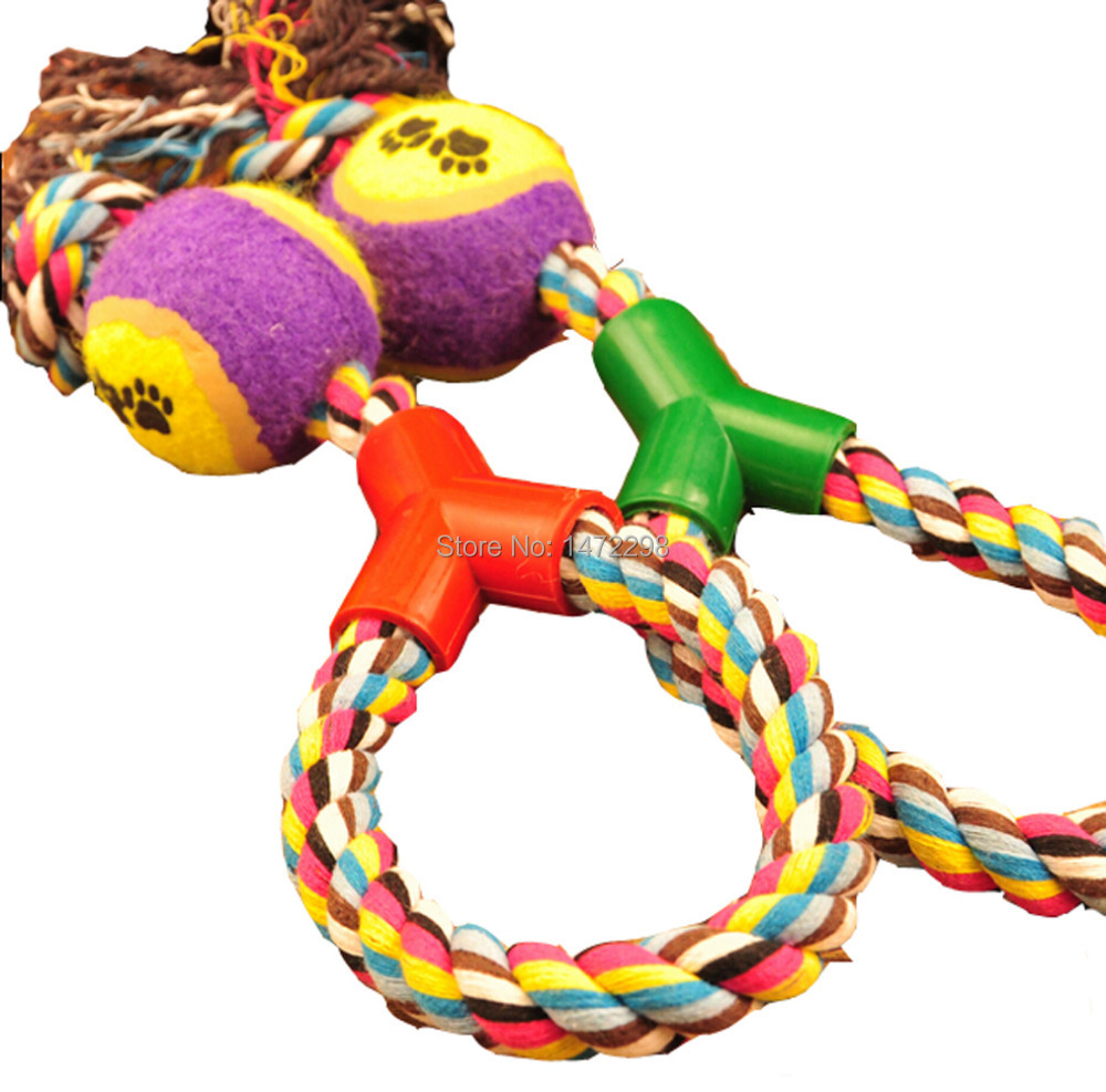 Toys For Exercise : Braided rope tennis ball grinding clean teeth playing chew