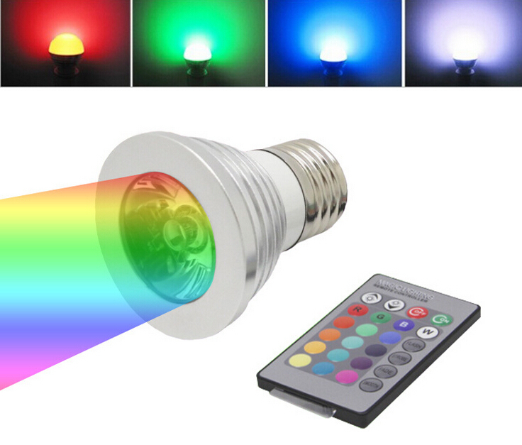 3w e27 e14 gu10 gu5 3 rgb led spotlight bulb lamp lights color changing ac 85 265v with ir. Black Bedroom Furniture Sets. Home Design Ideas
