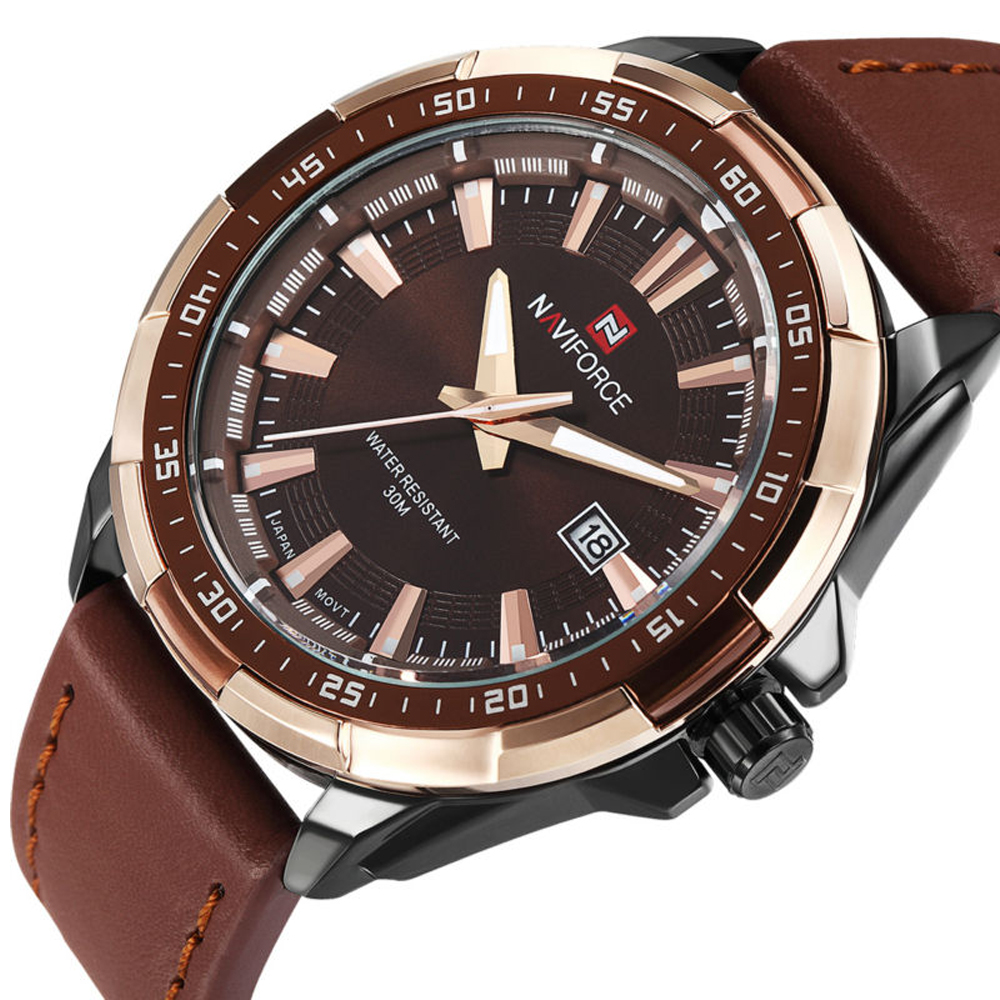 Luxury Naviforce Brand Dress Men Quartz Watches relogio Leather Strap Casual Wristwatch Complete Calendar Business Clock Watch<br><br>Aliexpress