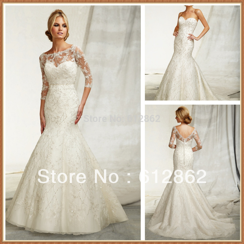 Two-piece Beaded Mermaid Long Tail Lace 2015 sweetheart sweep train tulle natural Sleeve Wedding Dress(China (Mainland))