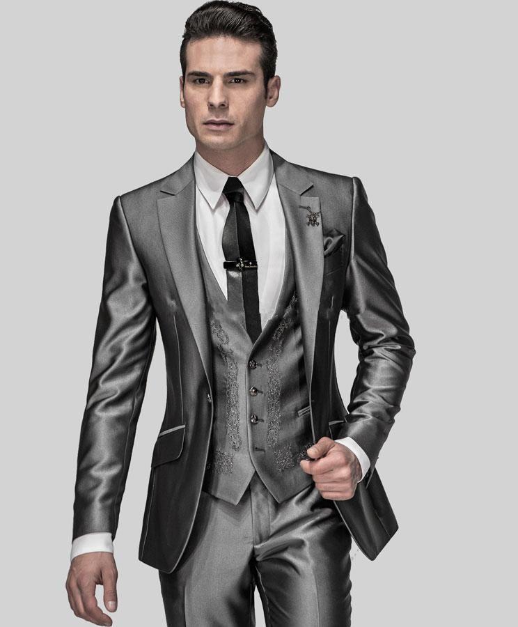 Slim Fit Groom Tuxedos Shiny Grey Best man Suit Notch Lapel Groomsman Men Wedding Suits Bridegroom(Jacket+Pants+Tie+Vest)
