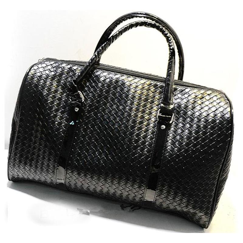 Knitting Pattern black leather large travel bag Men women luggage travel bags...