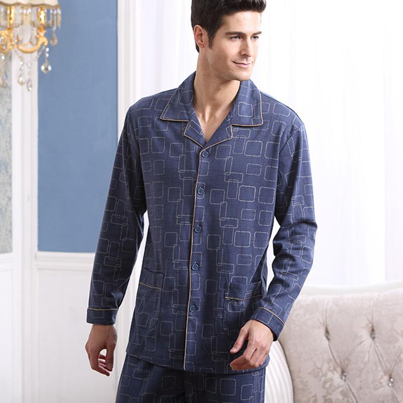 Top Quality 2016 Men Pajama Pure Cotton Full Sleeve Pyjamas Male Sleepwear Casual Pijama Turn-down Collar Plus Big Size A5704(China (Mainland))