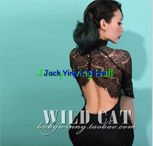 WILD CAT Retro sexy and elegant halter dress lace dress tight collar (China (Mainland))