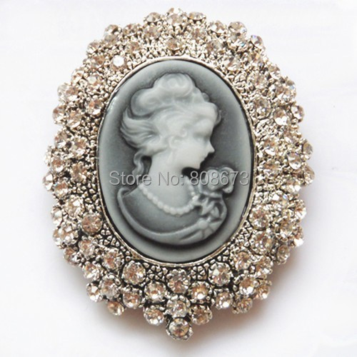 Retail!Clear Austria Crystal Rhinestone Vintage Style Fashion Victorian Style Cameo Brooch Lady Scarf Brooch Pins Hot Selling(China (Mainland))
