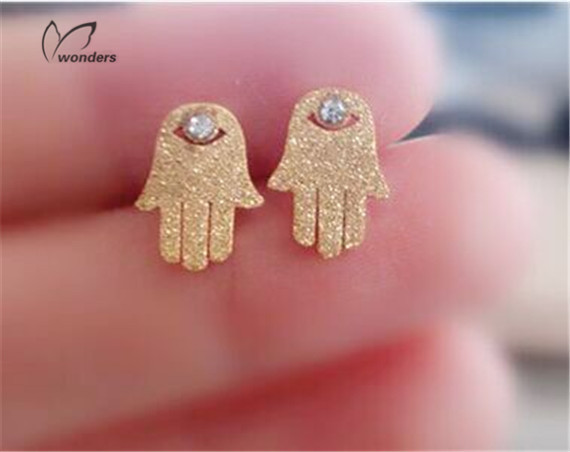 30pairs/lot-2015 Gold/Silver/Rose Gold Luck Jewelry PVD Stainless Steel Evil Eye Hamsa Hand Crystal Stud Earrings for Women<br><br>Aliexpress