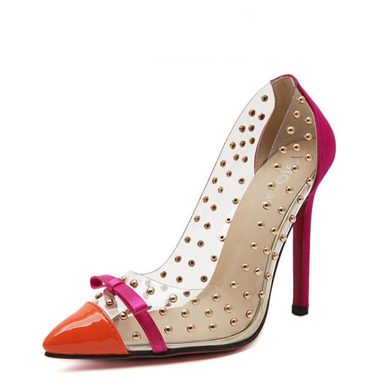 Europeo de Diseño de Lujo Famosos de la Marca de Las Mujeres Bombas de Ultra Delgados Tacones Altos Sandalias Transparentes Remaches Rojos de Fondo zapatos de Tacón Alto(China (Mainland))