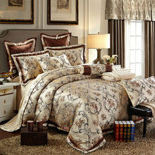 Luxury bohemian print silk satin cotton jacquard bedding sets Queen/King size 4/6/8/10pcs sets bed in bag golden linens(China (Mainland))