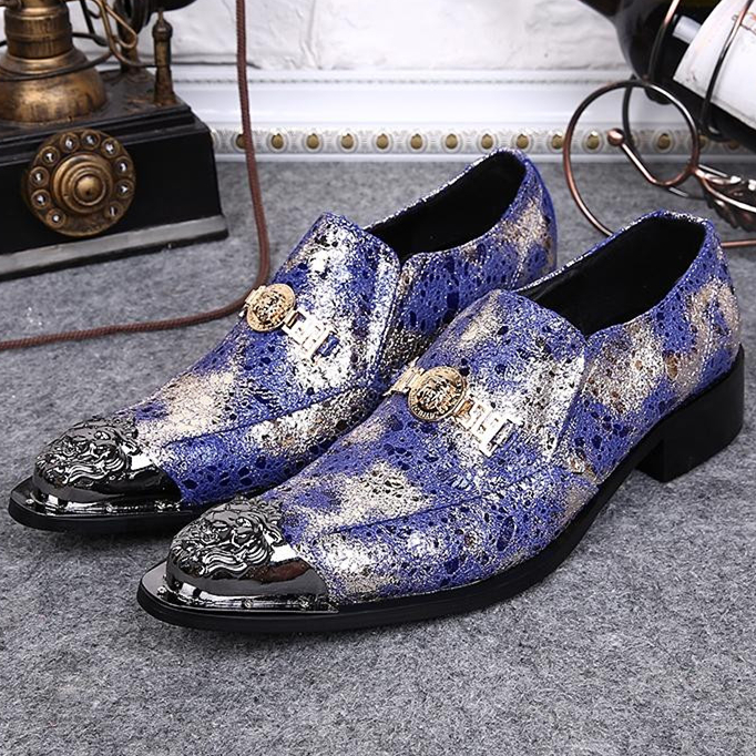 The Latest Fashion Blue Cracks Pattern Men Shoes Comfort Platforms Flat Party Zapatos Sweet Metal Pointed Toe Oxford Shoes Men(China (Mainland))