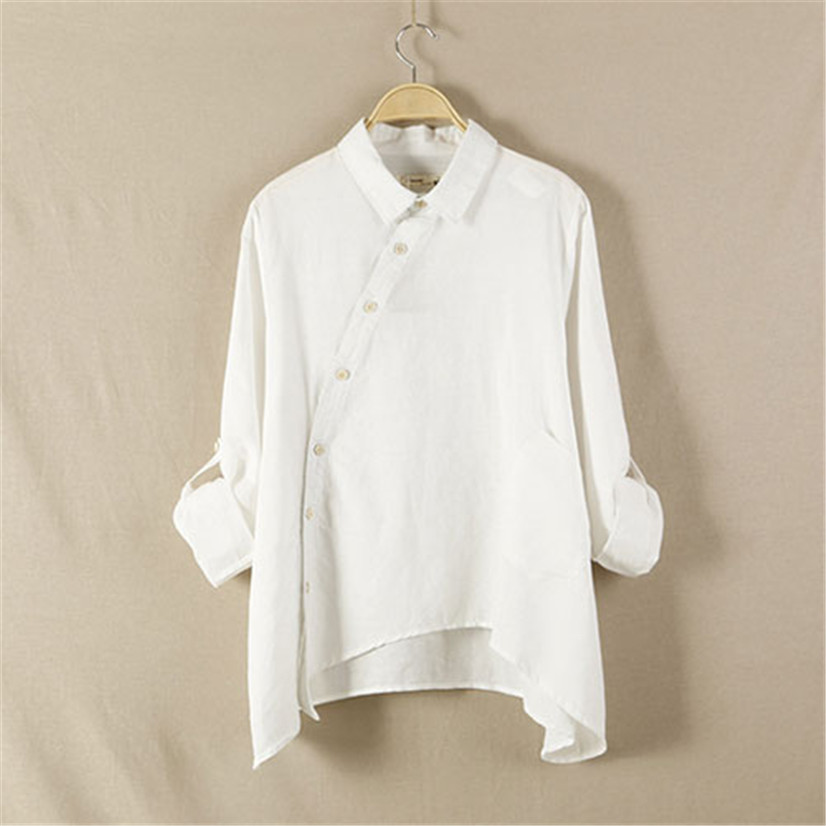 Hot marketing brand new Irregular shirt loose hem tops personality flax blouses women Long sleeve Shirts MAY19(China (Mainland))
