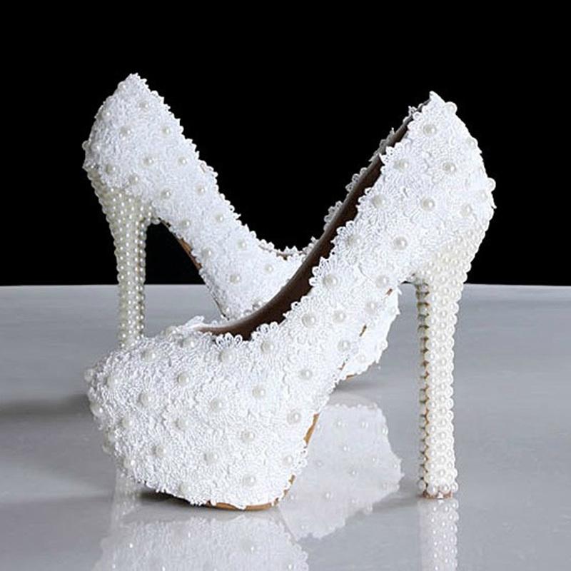 Здесь можно купить   Arrival White Lace Wedding Dress Shoes High-heeled Bridal Shoes with Pearls 14cm heel Party Prom Shoes Ladies Wedding Shoe   Обувь