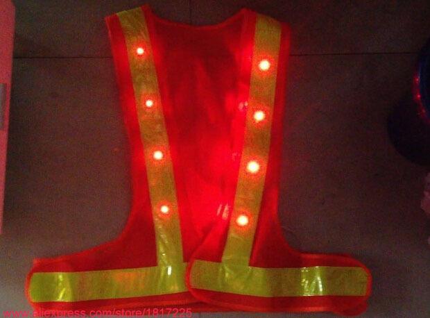 16LED светоотражающие защитная одежда аккумулятор из светодиодов проблесковый маячок со светоотражающими полосками-dhl безопасности предупреждение жилеты для ночь рабочая