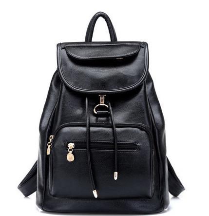 2016 опрятный стиль женщины рюкзак искусственная кожа черный школьные сумки для девочки ...