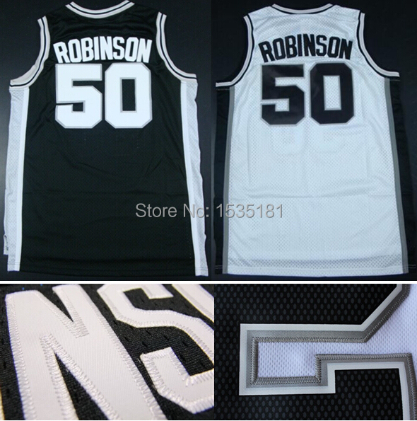 #50 David Robinson Jersey Home Road Black White Throwback Vintage Retro Embroidery Logos Basketball jerseys Accept Mix Order(China (Mainland))