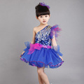 Free Shipping Children Girls Dancing Dress Party Stage Performace Costumes One Shoulder Sequins Tulle Princess Dress
