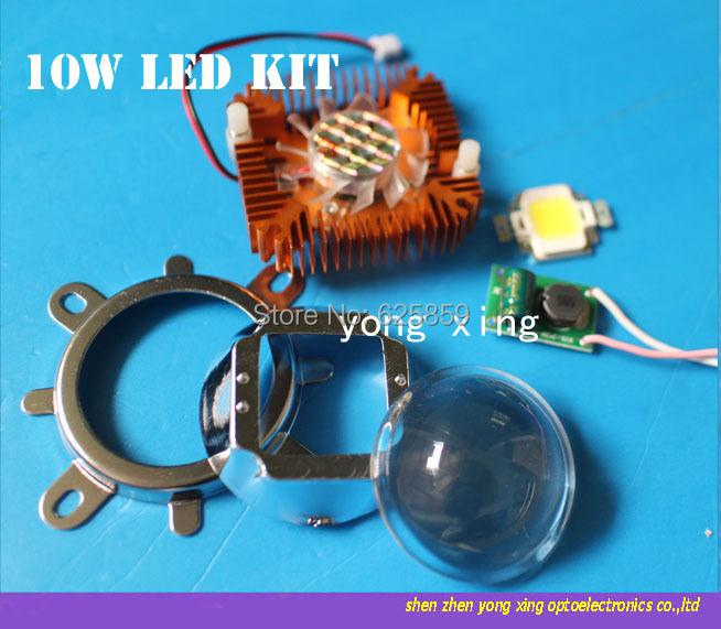 44mm Lens kit + 10W Cool White / warm white LED + 10Watt Driver + 10w Heatsink DIY(China (Mainland))