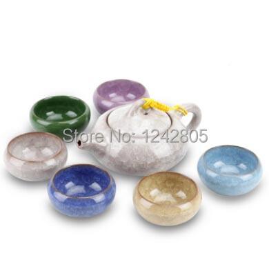 12 colors beautiful ceramic teapot set Porcelain tea pot with 6 cups Kung fu tea service