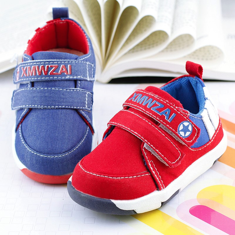 Baby shoes boys girls cotton shoe 2016 spring autumn first walkers casual sports sound soft outsole toddler canvas baby shoes(China (Mainland))