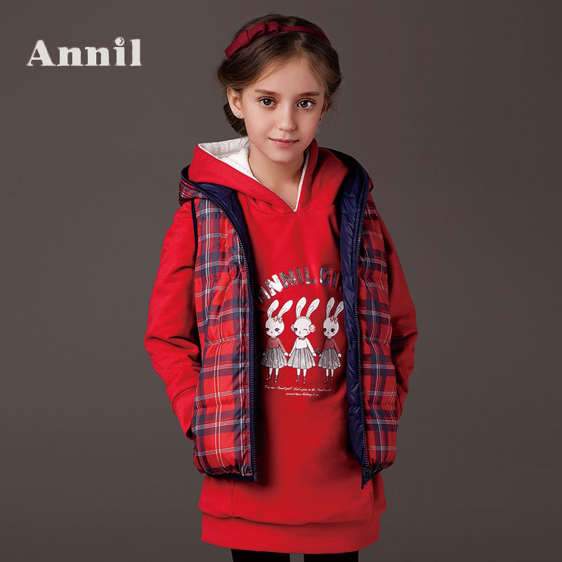 Фотография Annil girls winter clothes Double wear down vest AG442422 Lattice down vest two colors