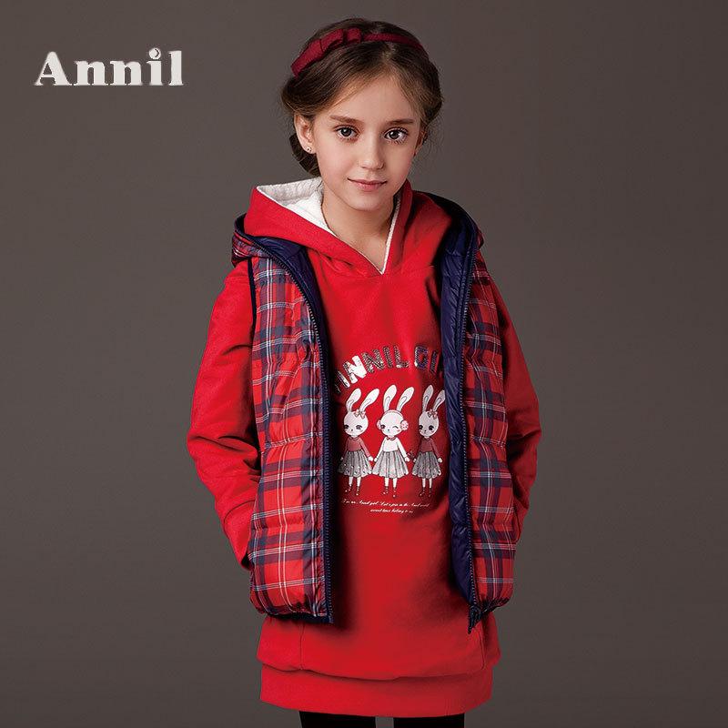 Фотография Annil girls winter clothes Double wear down vest AG442422 Lattice down vest two colors