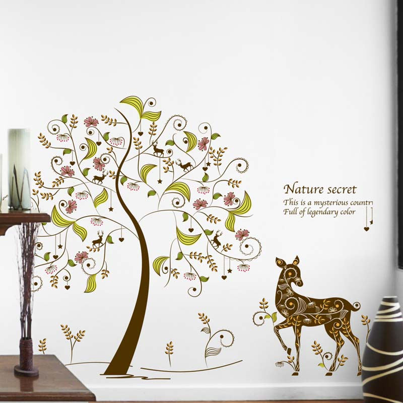 Color secret tree wall stickers wholesale cartoon TV setting wall stickers to decorate sitting room sofa
