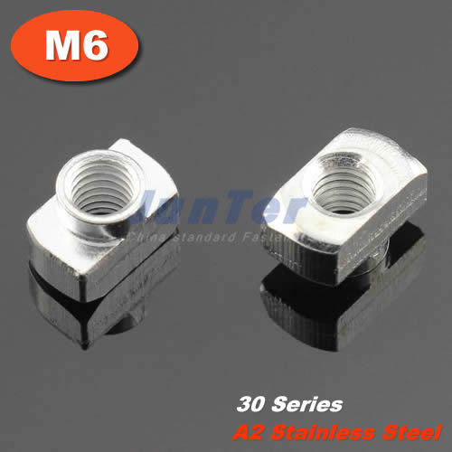 10pcs/lot M6 Stainless Steel A2 Hammer Nut Aluminum Connector T Fastener Sliding Nut For 3030 Aluminum Profile<br><br>Aliexpress