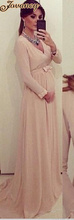 Elegant Long Plus Size Champagne V Neck Long Sleeve Bow Empire Court Train Chiffon Maternity Evening