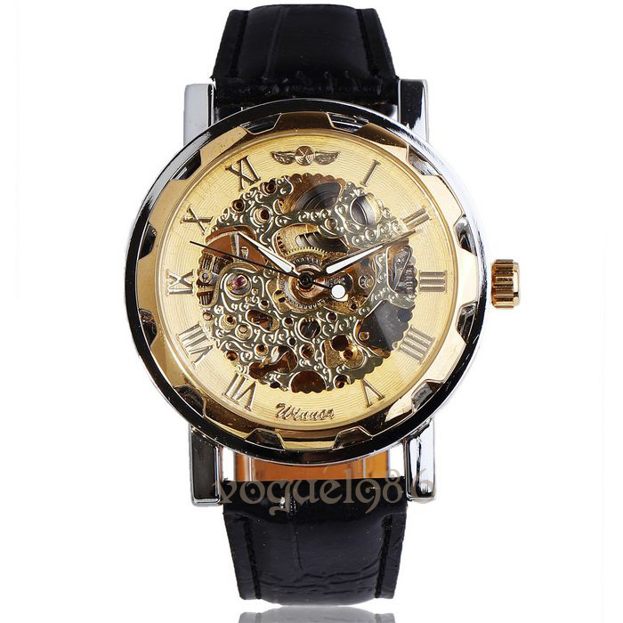 Crazy sale Winner best price new Leather Mechanical watch