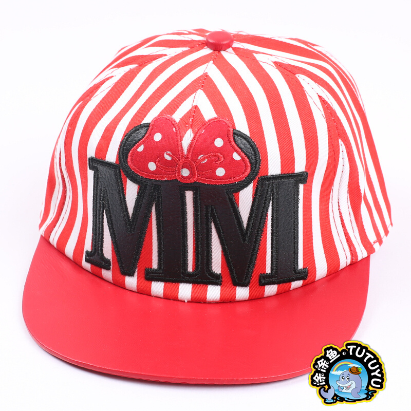 New arrive Striped Baby girls Cartoon snapback Caps baseball caps Letter Embroidery hat with Bowknot For Children(China (Mainland))