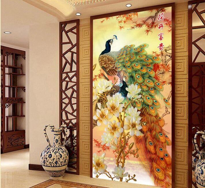 JCS Needlework,DIY DMC blooming flowers peacock Cross stitch ,The vertical version of magnolia silk series ,Wall Home Decro