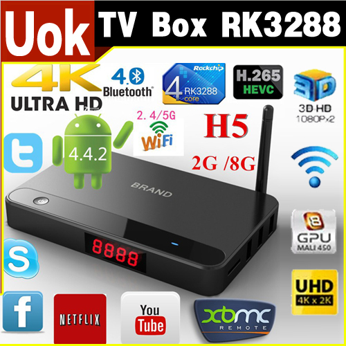 New! Android 4.4 Smart TV Box RK3288 4K Full HD 2G/8G Quad Core Media Player XBMC Dual Wifi Mini PC Antenna With Remote Controll(China (Mainland))