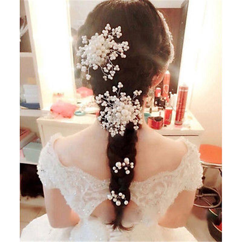 Bridal Pearl Hairpin Rhinestone Crystal Hair Clip Bridesmaid Jewelry Hairgrips Hair pins Accessories For Woman(China (Mainland))