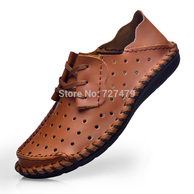 Men original single foreign trade business casual driving shoes soft leather hand stitched leather breathable flat shoes A290