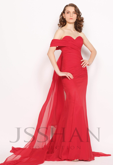11P171 One Shoulder Ruching Chapel Train Mermaid Chiffon Elegant Gorgeous Luxury Unique Brilliant Evening Dress Red Prom Dress