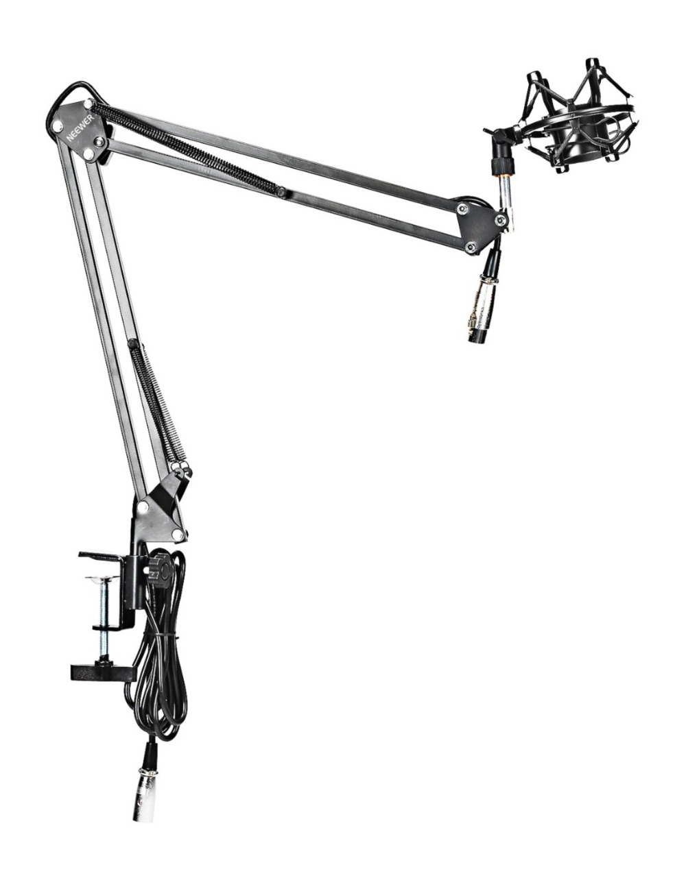 Neewer NW-35 Suspension Boom Scissor Arm Stand with Built-in XLR Male to Female Cable, Shock Mount and Table Mounting Clamp(China (Mainland))