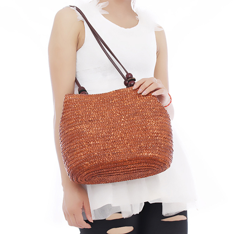 Women Retro Wooden Beads Beach Shoulder Bag trend bolsas femininas Straw Woven Bags Tote Handbag RD641874(China (Mainland))