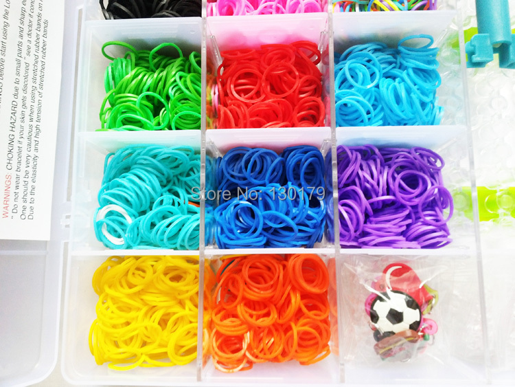 New Luxury version 5000pc/lot Rainbow Hair Rubber Band Loom Refill DIY Bracelet+ Clip + Hooks +Small pendant(China (Mainland))