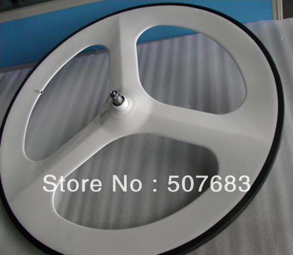 700c 3 spoke wheel white color painted fixed gear bike wheelset complete colorful trispoke 28inch full carbon clincher rim - Xiamen Centra Industry & Trading Co., Ltd. store