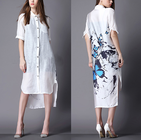 Excellent OL Women Brief White Bow Medium Long Plus Size Shirt Dress Clothing