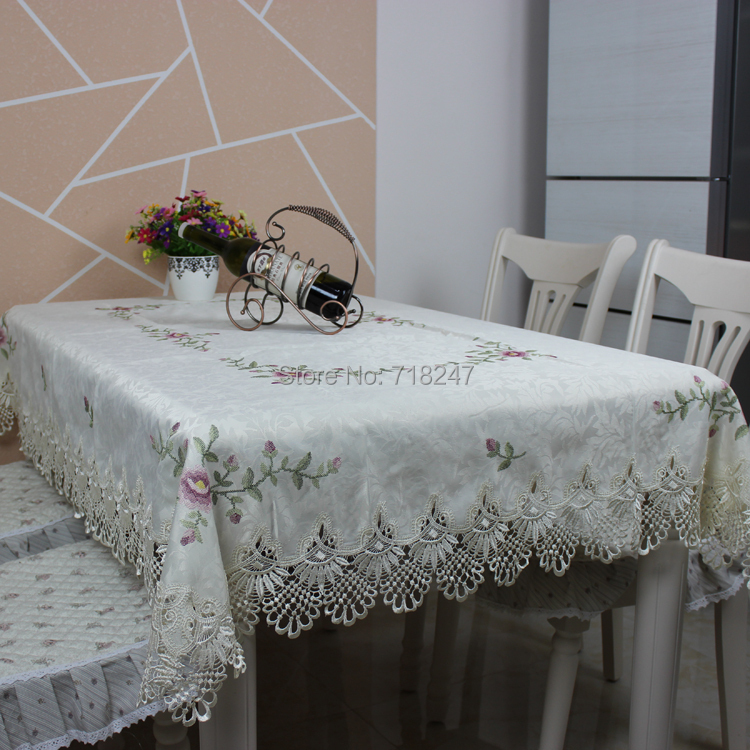 Elegant satin cross stitch embroidery tablecloth lace for Lace home decor